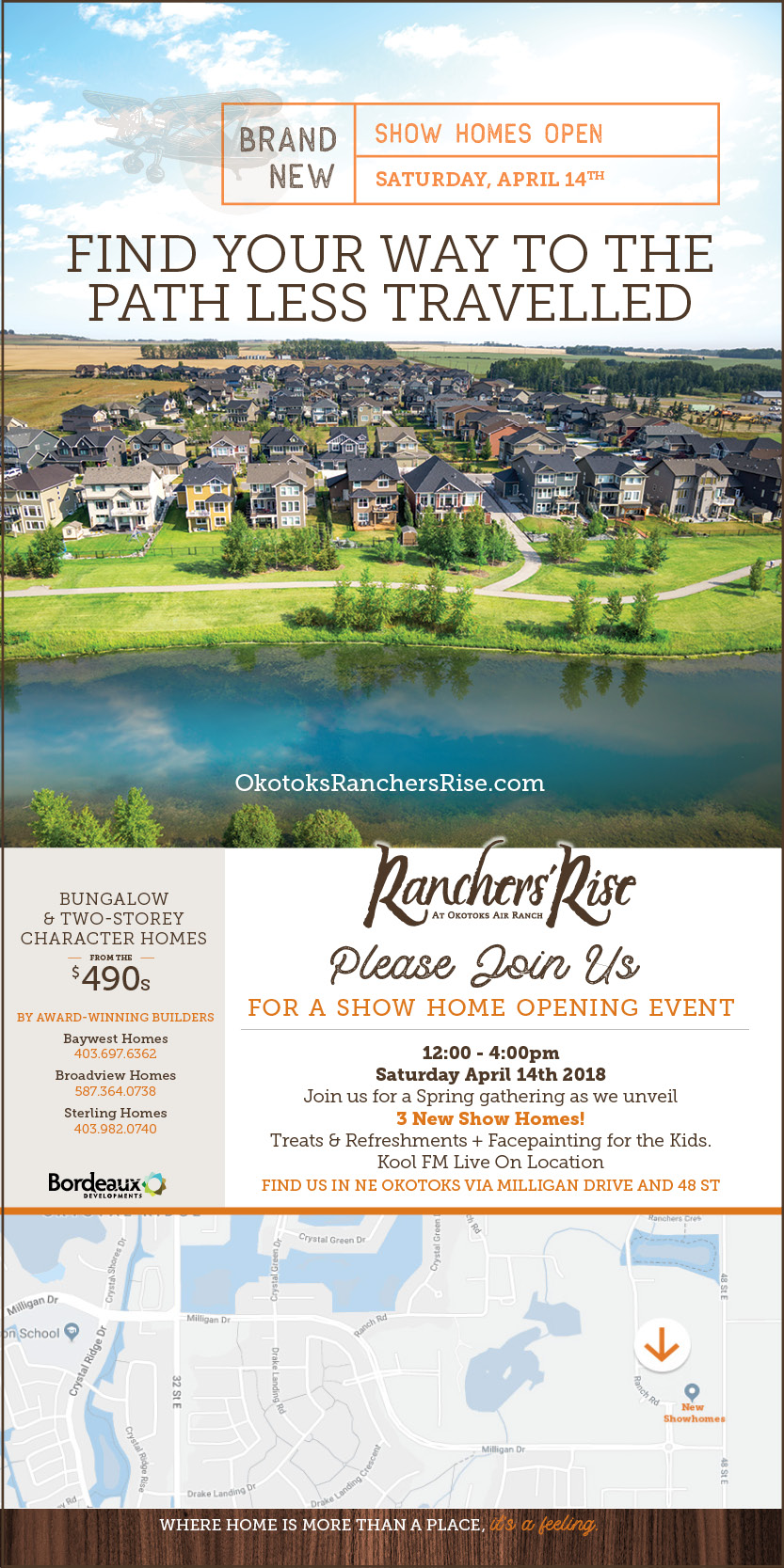 Please Join us for a Show Home Opening Event- Saturday April 14, 2018. Noon to 4:00 OM